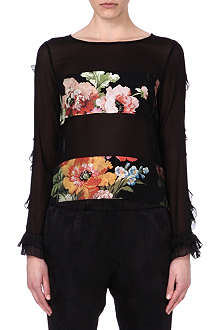 DRIES VAN NOTEN Cate floral-panel silk top