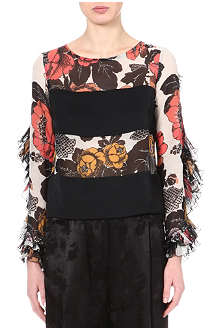 DRIES VAN NOTEN Ruffled-sleeve floral top