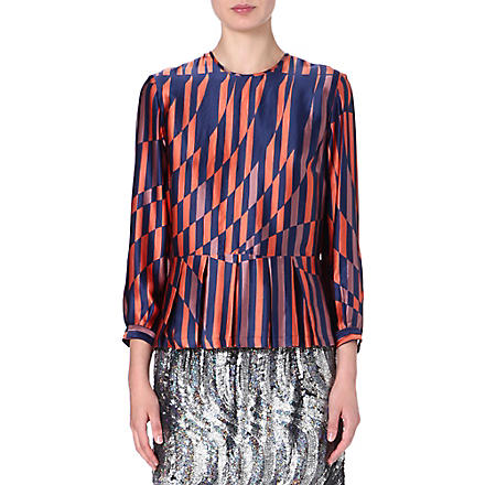 DRIES VAN NOTEN Caton silk top (Orange