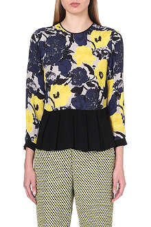 DRIES VAN NOTEN Caton pleated-hem silk top