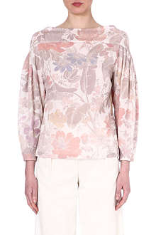 DRIES VAN NOTEN Floral puff sleeve top