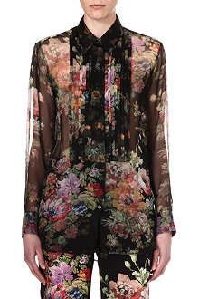 DRIES VAN NOTEN Floral silk tuxedo shirt