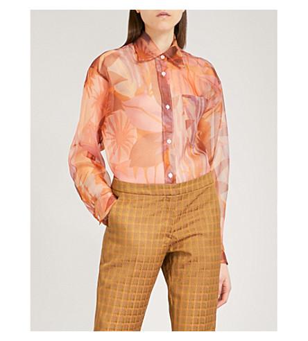 DRIES VAN NOTEN Charle floral-print silk-organza shirt (Pink