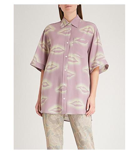 DRIES VAN NOTEN Lip-print oversized silk shirt (Lilac