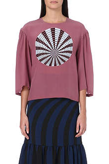 DRIES VAN NOTEN Chasi sphere-print silk top