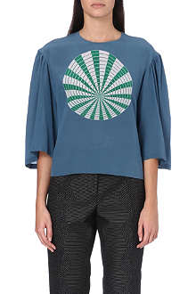 DRIES VAN NOTEN Sphere-print silk top