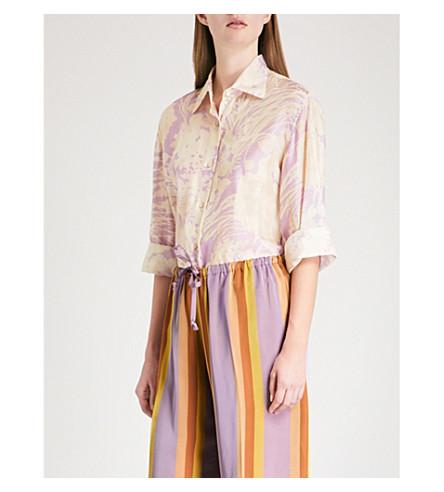 DRIES VAN NOTEN Abstract floral-print silk shirt (Lilac