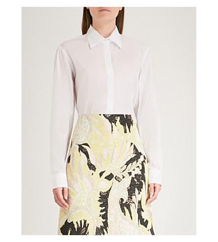 DRIES VAN NOTEN Striped cotton and silk-blend shirt (Ecru