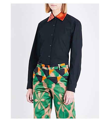 DRIES VAN NOTEN Sequin-collar cotton shirt (Black