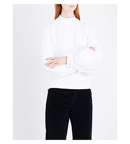 DRIES VAN NOTEN Puff-sleeve cotton top (White