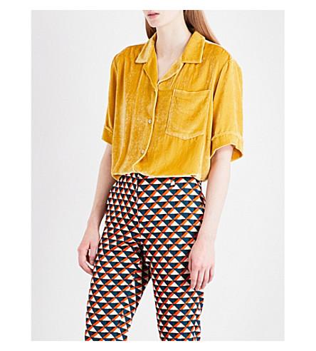 DRIES VAN NOTEN Clive velvet shirt (Yellow