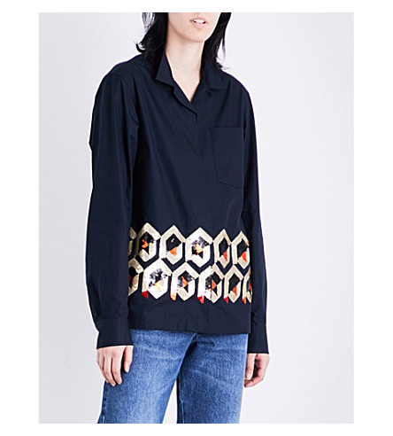 DRIES VAN NOTEN Cliver sequin-embellished cotton shirt (Midnight