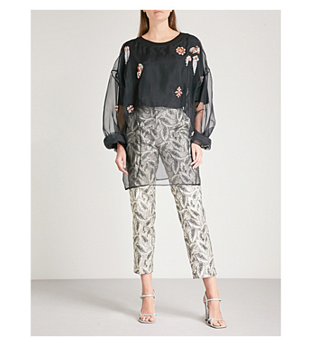 DRIES VAN NOTEN Embellished silk-organza blouse (Black