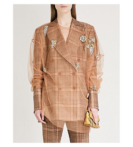 DRIES VAN NOTEN Coltre embellished tulle top (Camel