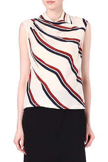 DRIES VAN NOTEN Gathered silk stripe top