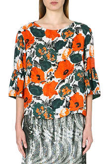 DRIES VAN NOTEN Connie floral-print silk top
