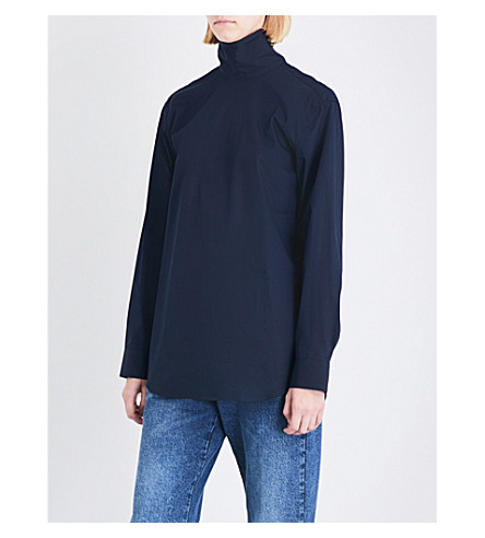 DRIES VAN NOTEN Conti high-neck cotton shirt (Midnight