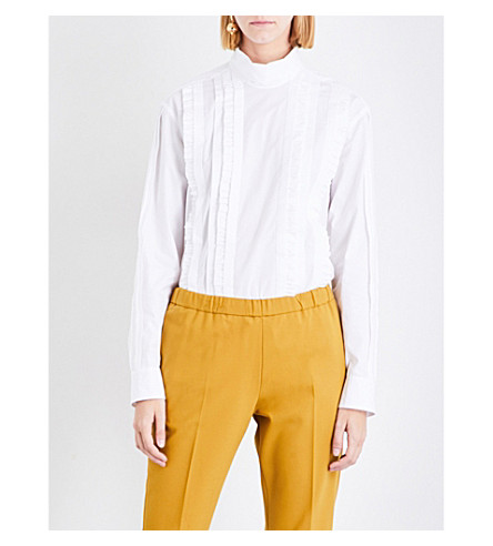 DRIES VAN NOTEN Contis high-neck cotton shirt (White