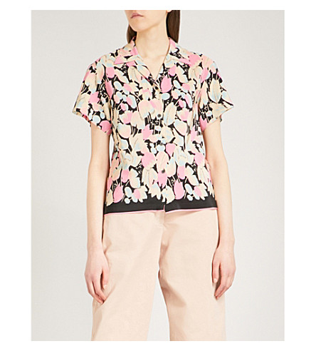 DRIES VAN NOTEN Copin tulip-print silk shirt (Pink