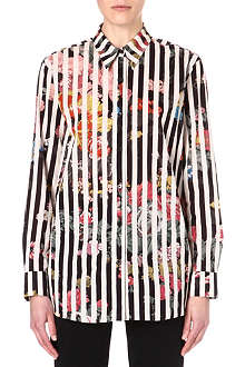DRIES VAN NOTEN Stripe floral cotton shirt