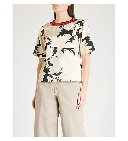 DRIES VAN NOTEN Coral satin T-shirt (Black