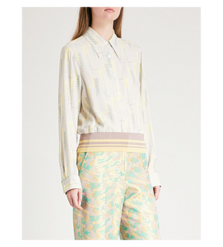 DRIES VAN NOTEN Knitted-hem silk shirt (Dust