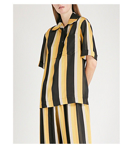 DRIES VAN NOTEN Striped satin shirt (Black