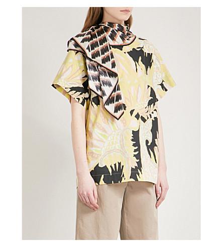 DRIES VAN NOTEN Scarf-panel cotton shirt (Black