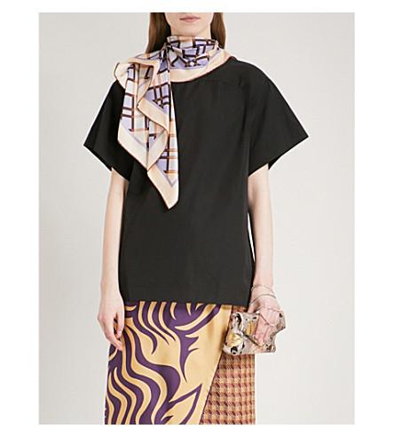 DRIES VAN NOTEN Coxi scarf-panel cotton-poplin top (Black