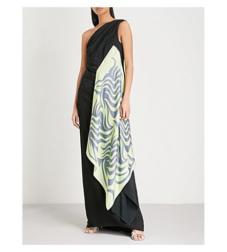 DRIES VAN NOTEN Asymmetric woven top (Black