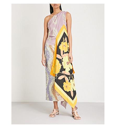 DRIES VAN NOTEN Floral-print asymmetric silk top (Lilac