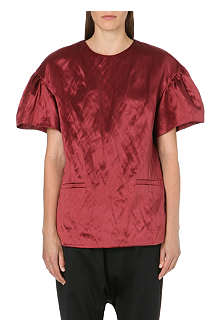 DRIES VAN NOTEN Ruffle-sleeve satin top