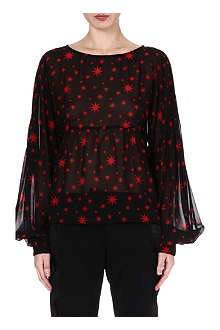 DRIES VAN NOTEN Star-print silk top