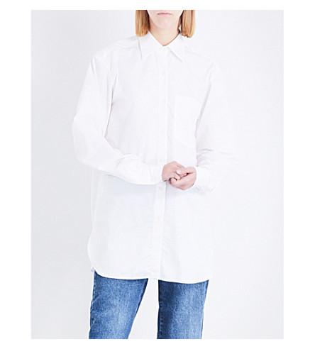 DRIES VAN NOTEN Notched-hem cotton shirt (White