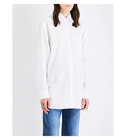 DRIES VAN NOTEN Notched-hem cotton shirt (White