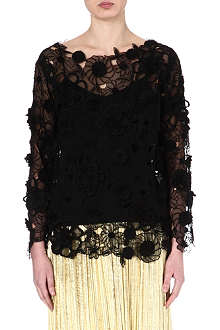 DRIES VAN NOTEN Floral lace top