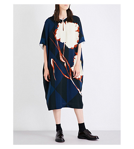 DRIES VAN NOTEN V-neck floral-print crepe kaftan (Navy