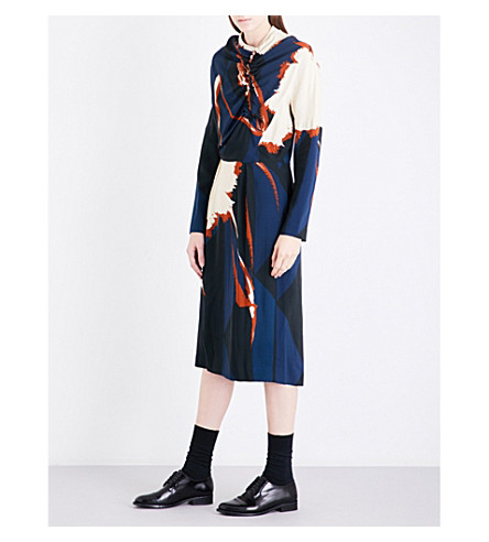 DRIES VAN NOTEN Dalat crepe dress (Navy