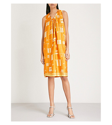 DRIES VAN NOTEN Geometric-print satin dress (Orange