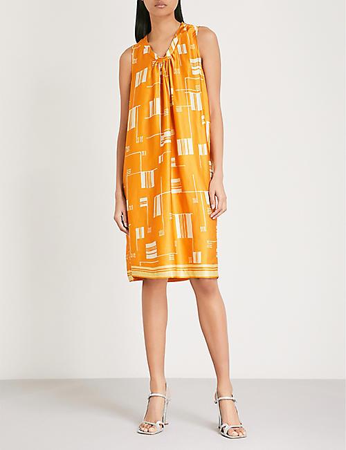 DRIES VAN NOTEN Geometric-print satin dress