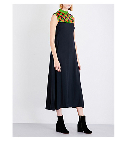 DRIES VAN NOTEN Dangeem sequin-embellished silk-crepe maxi dress (Green