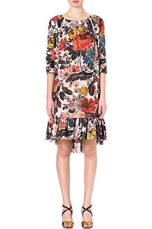 DRIES VAN NOTEN Floral-print cape-detail dress