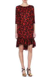 DRIES VAN NOTEN Frilled asymmetric-hem dress