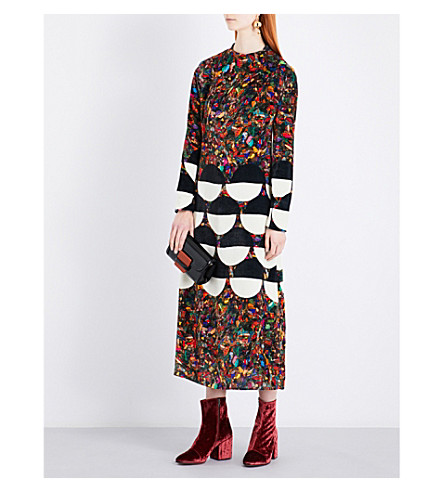DRIES VAN NOTEN Dashi marble and geometric-patterned velvet dress (Des+b