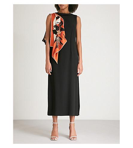 DRIES VAN NOTEN Debeo scarf-detail crepe dress (Black