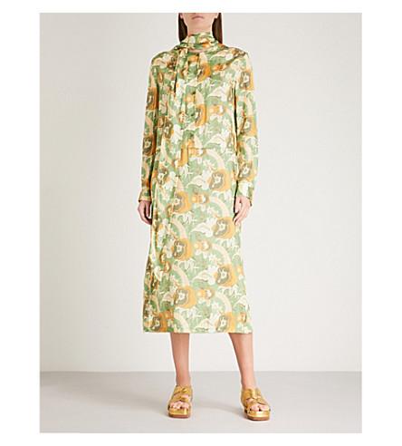 DRIES VAN NOTEN Decus satin midi dress (Green