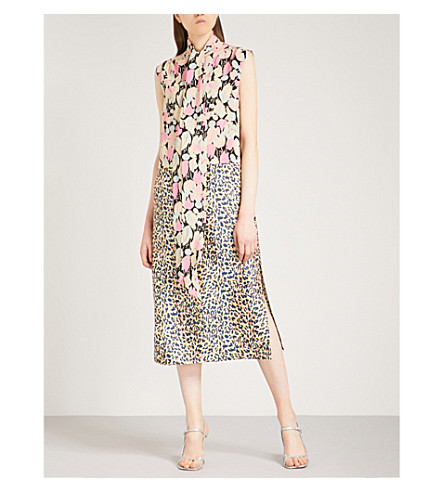DRIES VAN NOTEN Decussibi tulip and leopard-print silk-twill dress (Pink