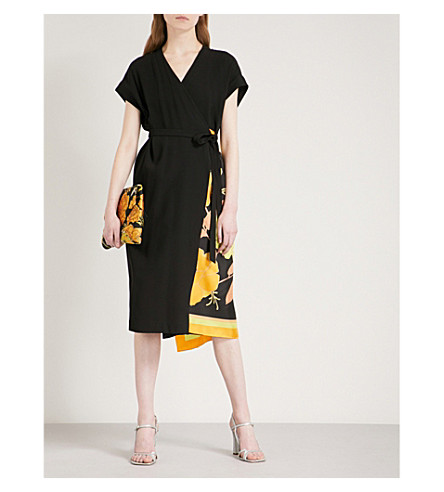 DRIES VAN NOTEN Defix crepe wrap dress (Black