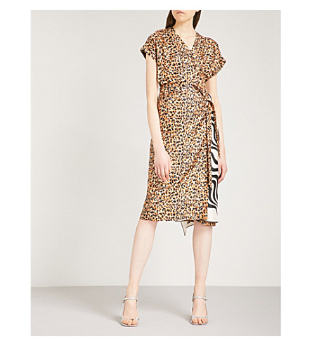 DRIES VAN NOTEN Defici leopard and swirl-print silk-twill wrap dress (Black