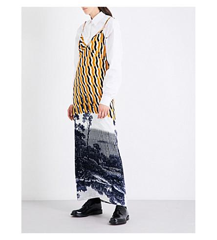 DRIES VAN NOTEN Geo and landscape-print velvet dress (Desc
